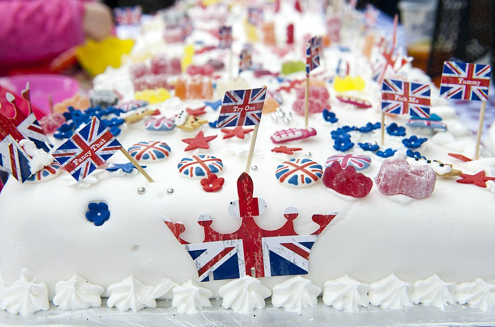 Sweet treat: An intricately decorated party cake bearing all the hallmarks of Britishness made for the Clapham street celebrations in south London