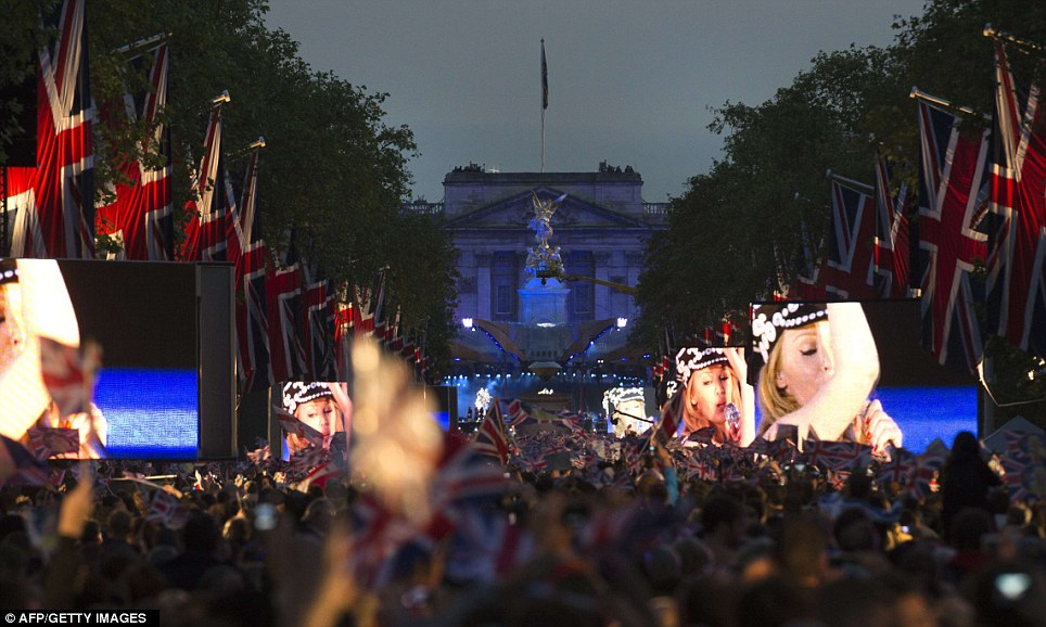 As the evening wore on, the giant screens stood out along the Mall