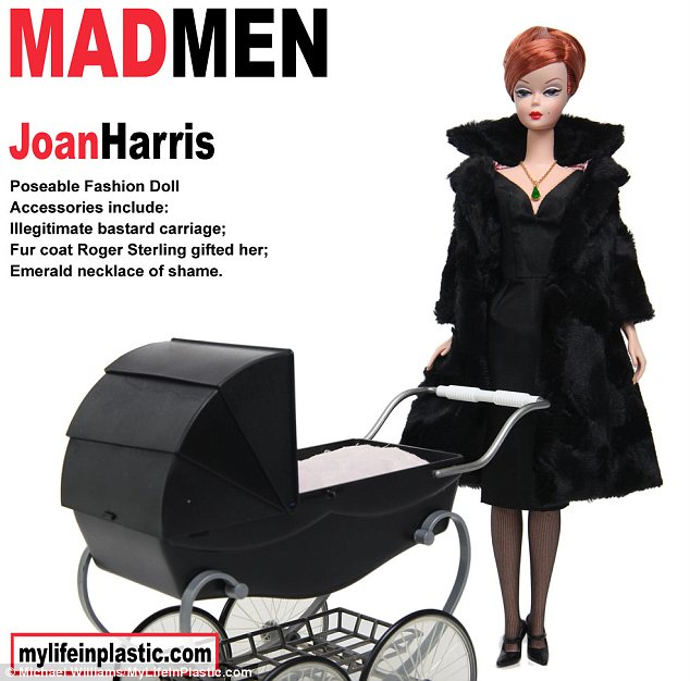 Amusing: Joan Holloway Harris has also been represented with baby carriage and 'emerald necklace of shame'