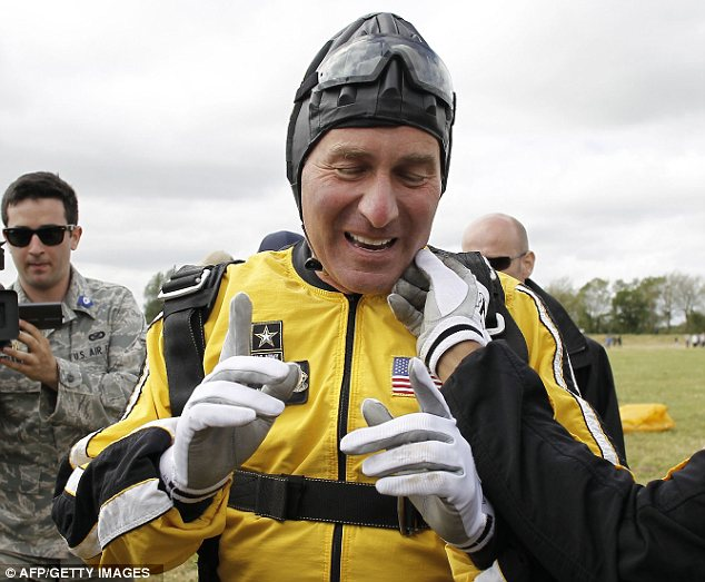 Celebration: The ambassador later took to Twitter and wrote of his pride at completing the jump