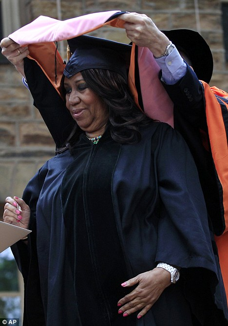 Capping it all off: Aretha Franklin had the ceremonial cap placed on her head as she received her honorary music doctorate from Princeton University today