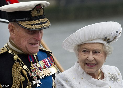 Treatment: Prince Philip is today in the King Edward VII Hospital in Paddington suffering from a bladder infection. He is pictured here on Sunday with the Queen during the Diamond Jubilee River Pageant