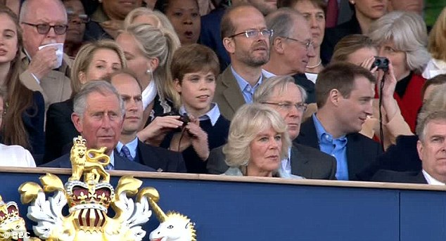 Best seats in the house: Prince Charles and Camilla were seen on the front row of the Royal box