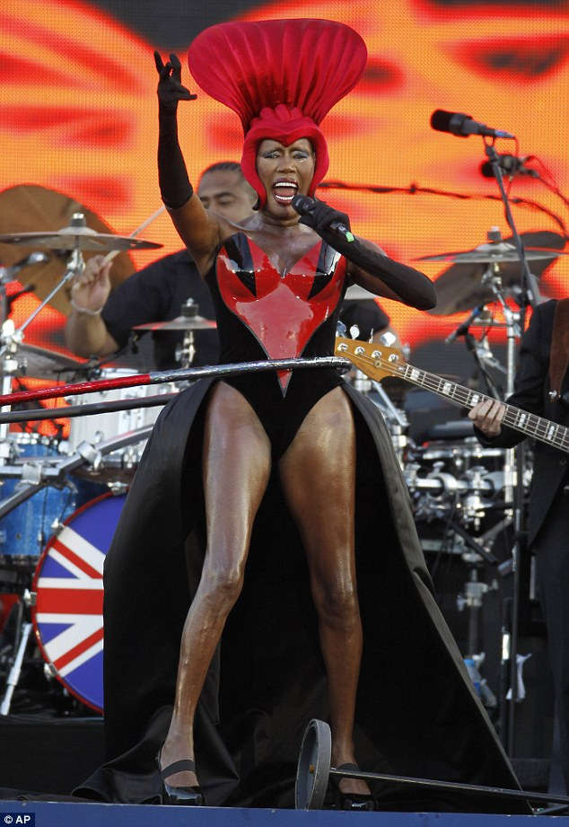 Spinning around: Veteran pop star Grace Jones took to the stage at the Queen's Jubilee concert last night and hula hooped her way through her song for four minutes