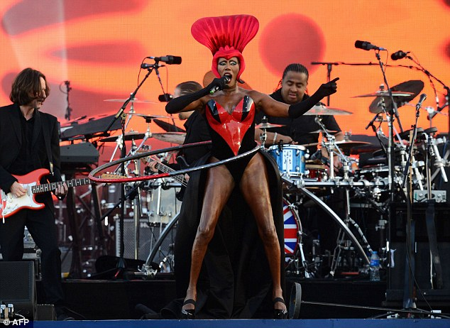 Grace Jones kept up an impressive four minute hula hoop routine while singing before wishing Queen Elizabeth a happy birthday