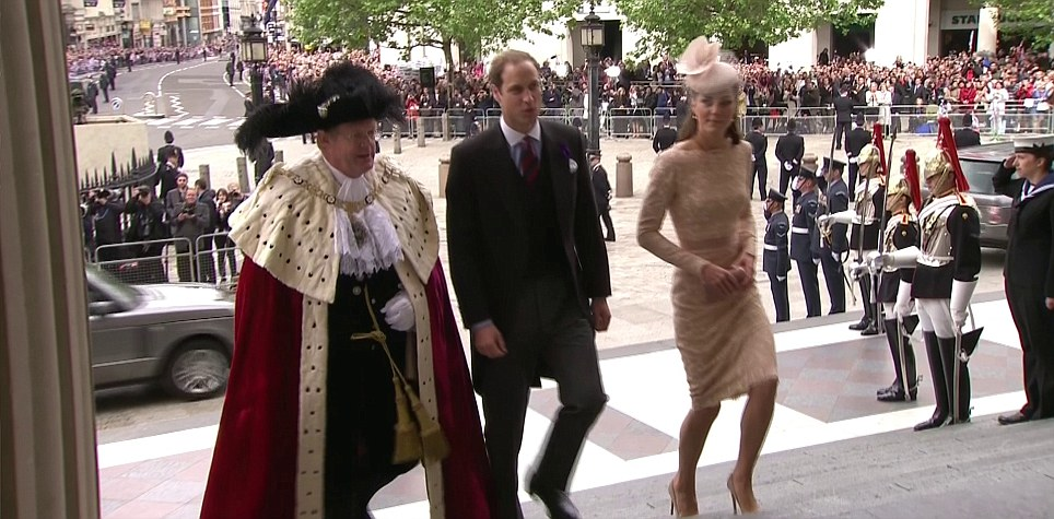 A real McQueen: Kate wore a dress designed by Alexander McQueen's Sarah Burton for the St Paul's service today
