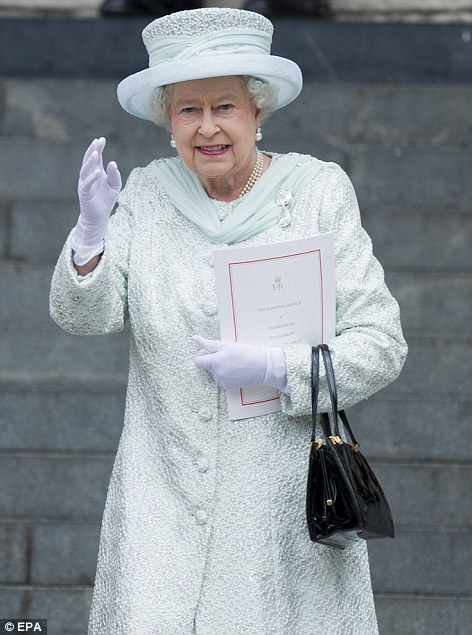 Seal of approval: Liz deemed today's Jubilee outfits a triumph