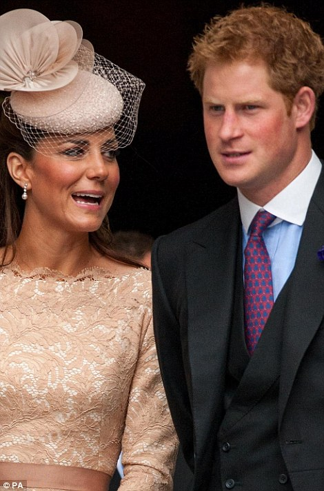 The Duchess of Cambridge and Prince Harry leave following a service of thanksgiving