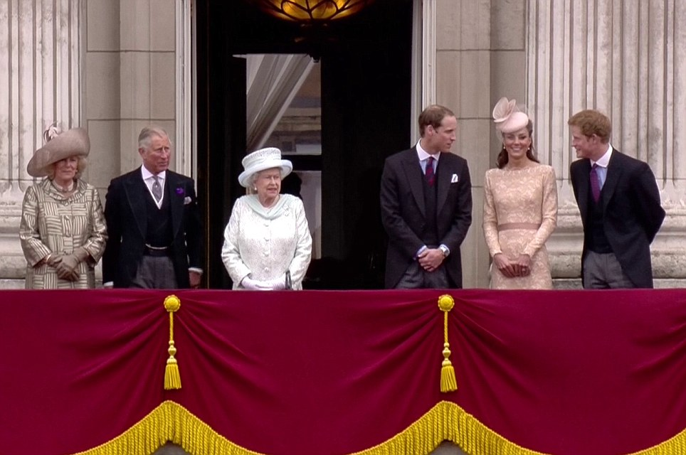 The new face of a thoroughly modern Royal family: Camilla, Prince Charles, William, Kate and Harry join the Queen on the balcony of Buckingham Palace