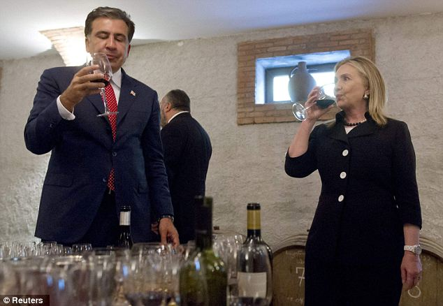 Enjoying it: The wine tasting is one of a number of recent more leisurely events that the soon-to-be-retired Secretary of State has included on her diplomatic trips