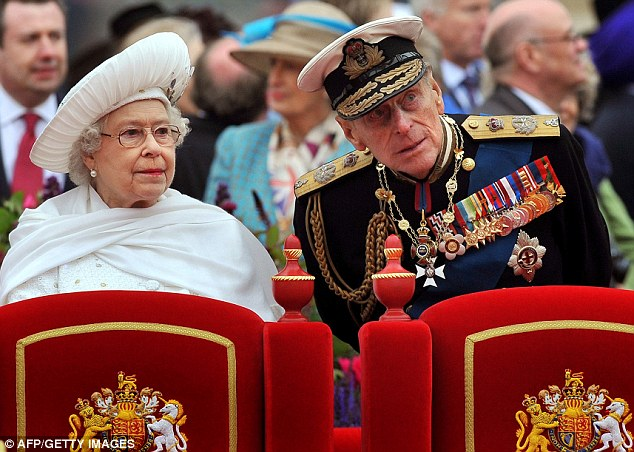 Together: The Queen and Prince Philip, Duke of Edinburgh, are pictured onboard the Spirit of Chartwell during the Thames Diamond Jubilee Pageant on the River Thames in London