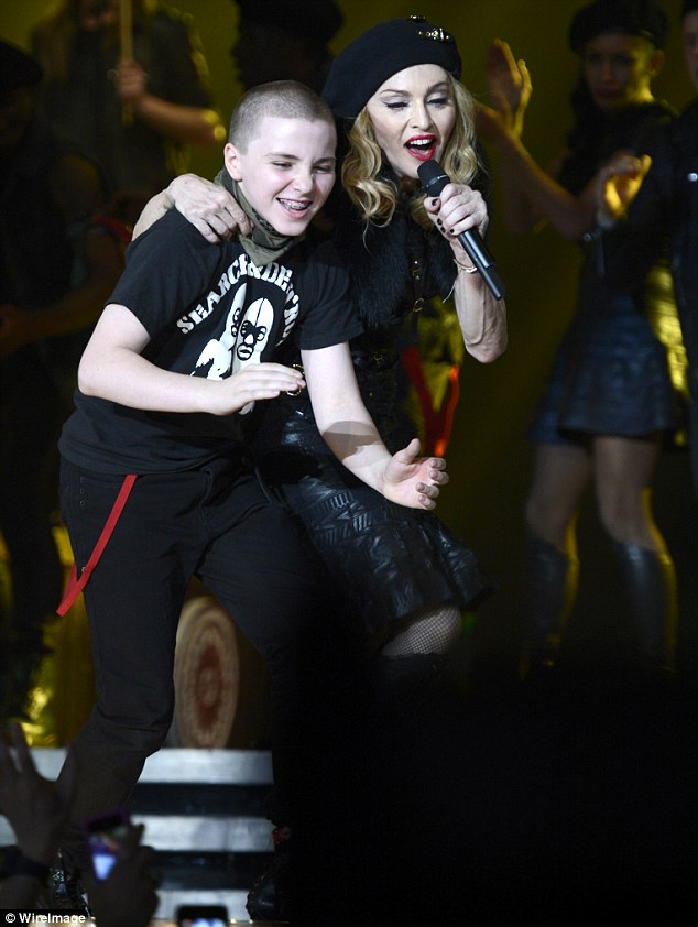 Lucky boy: Rocco, 11, joined his mother onstage in Israel last week