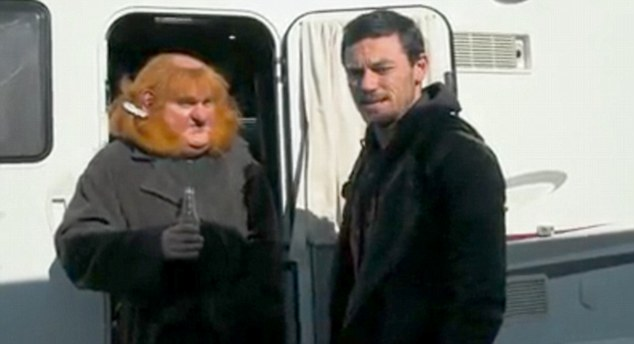 Trailer life: Stephen Hunter is seen enjoying a cool drink in costume as the dwarf Bombur