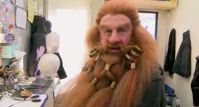 Make me over: Here Peter Hambleton gets made up as Gloin, the Northern dwarf who's the proud father of Gimli, who will go on to become part of the famous Fellowship of the Ring