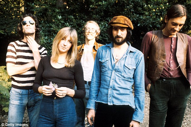 Heyday: Welch, centre, was in the band between 1971 and 1974, and was a guitarist and vocalist. Pictured here in 1973 with, from left Bob Weston, Christine McVie, John McVie and Mick Fleetwood