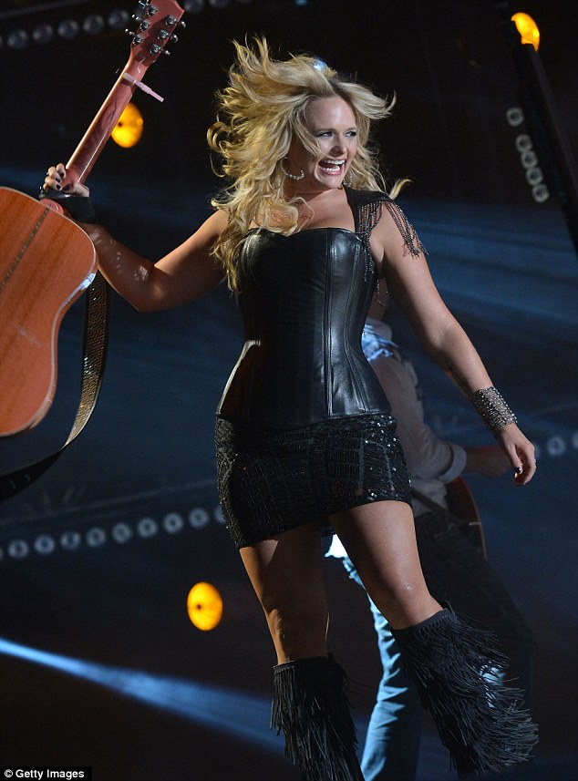 Country cutie: Miranda Lambert performed at the CMA Music Festival in Nashville, Tennessee, last night