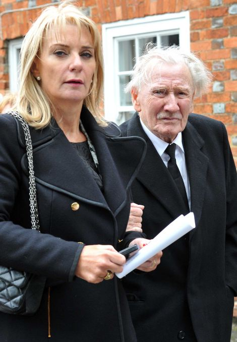 Showbusiness friends: Sir Tim Rice and Leslie Phillips were also spotted in the crowd outside the church