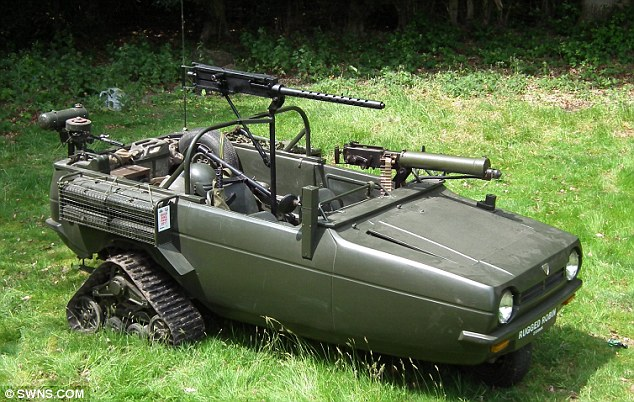 The Rugged Robin: Bernard Reeves, 67, created this remarkable go-anywhere vehicle with caterpillar track wheels and machine guns