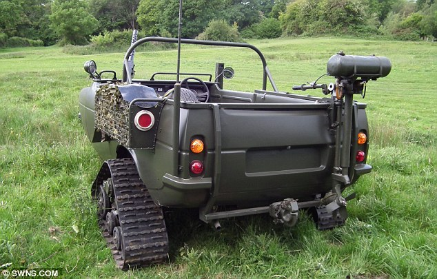 Off-road three-wheeler: The armoured Reliant Robin which took three months to convert. Bernard Reeves made it because he was fed-up of Jeremy Clarkson ridiculing the vehicle