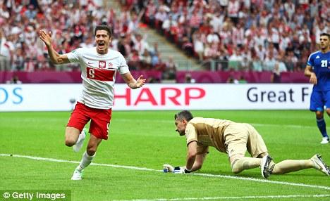 On target: Lewandowski scored in the opener against Greece