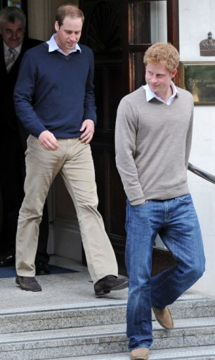 Looking relaxed: Prince William and Harry leave the King Edward VII hospital in London after visiting their grandfather