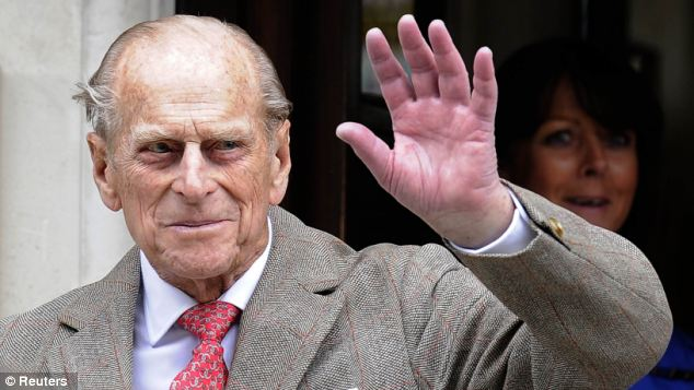 Good news: Prince Philip smiled and waved as he headed home to be with his family at Windsor for a private birthday celebration on Sunday