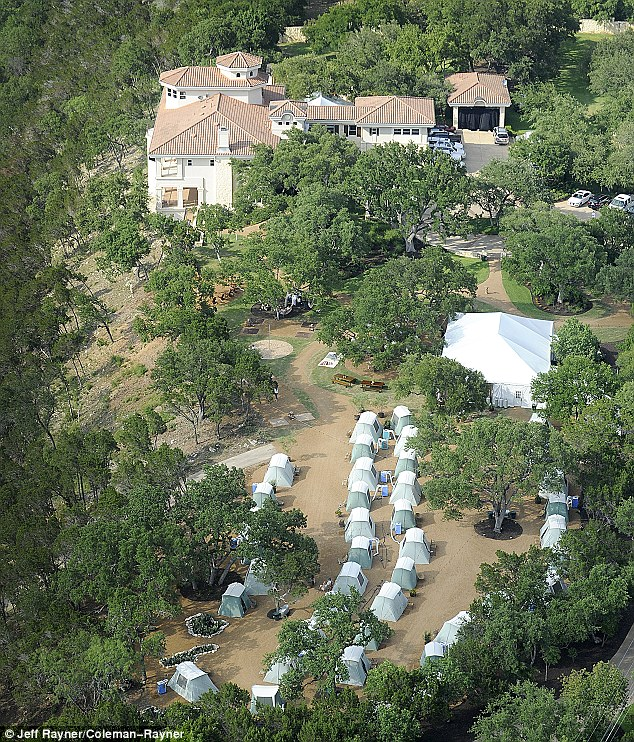 Bird's eye view: Matthew and Camila's garden was decked out with a sea of tents that guests reportedly slept in over the weekend