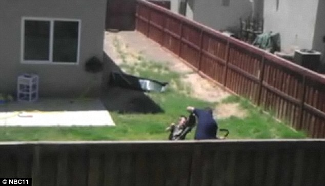 Punished: The stepfather was captured by a neighbour on camera who saw the man repeatedly beating the child when he wouldn't throw or catch the ball