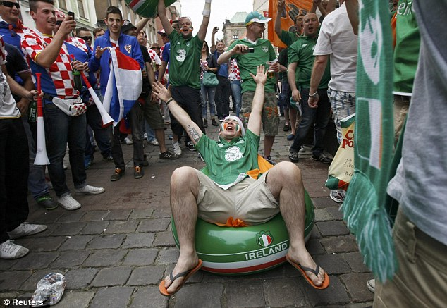 Mixing in: Republic of Ireland and Croatia fans get in the mood before their sides' clash in Poznan