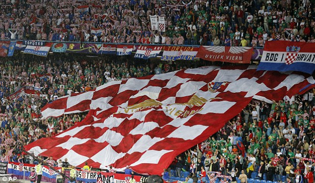 Fit to wear the shirt: Croatia fans unveil a gigantic jersey before the game