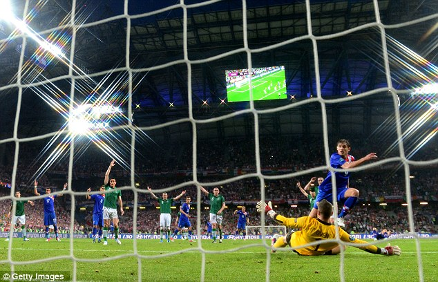 Off the mark: Nikica Jelavic pounced to restore the lead for Croatia just before half-time