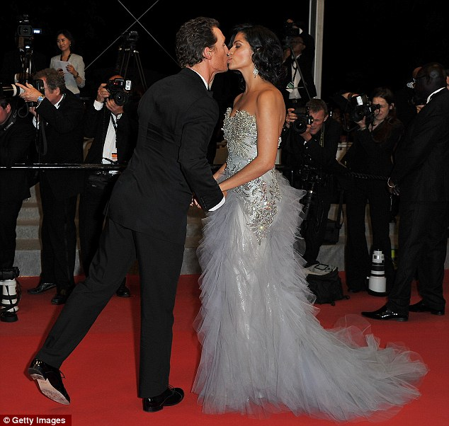 So in love: The couple shared a kiss on the red-carpet at the Cannes Film Festival last month