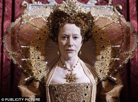 Old school: Dame Helen also featured as Elizabeth I for a TV show