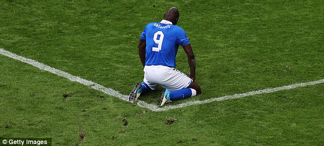 Bad day: Balotelli was supposedly subject to monkey noises during the international game as well