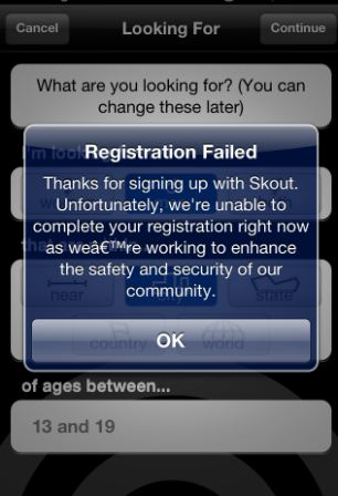 This morning new users were unable to register while others found they were blocked from using the app