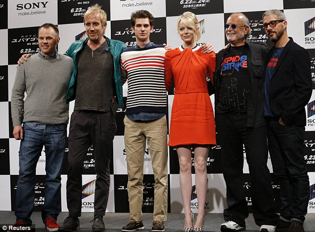 Cast and crew: The pair posed up with director Marc Webb, co-star Rhys Ifans and producers Avi Arad and Matthew Tolmach