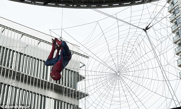 Here's Spidey! The premiere was attended by one special guest in particular, who showed his skills on a giant spider's web