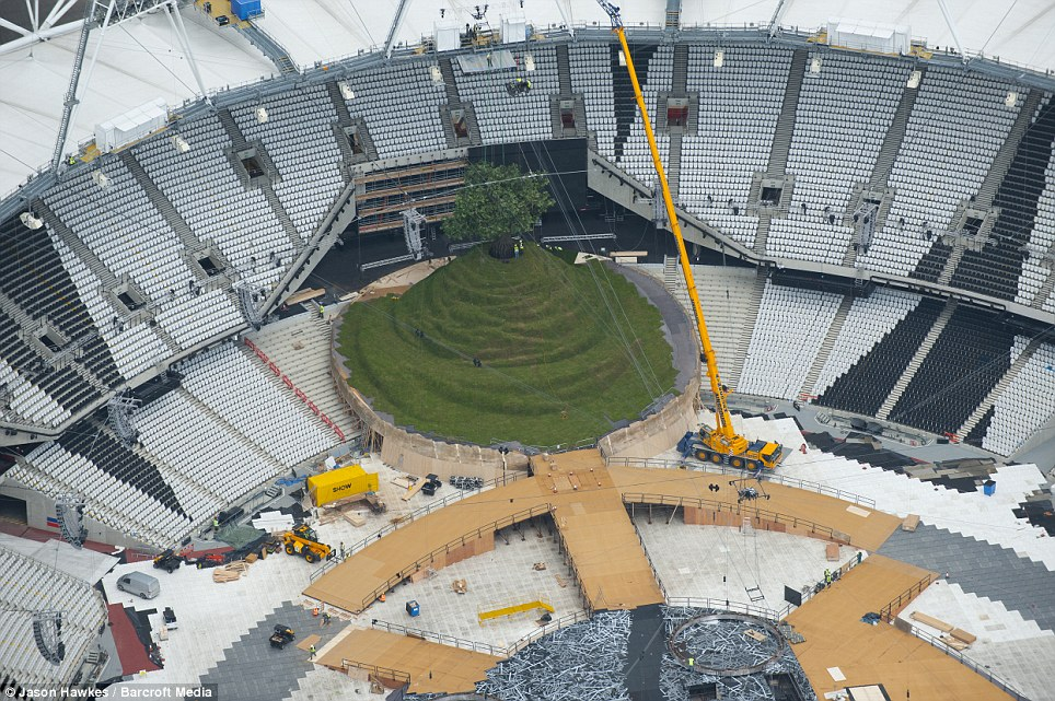 Hillock: The set will include a recreation of the Glastonbury Thor and an enormous fake tree, which will appear in the first scene, entitled 'green and pleasant land'