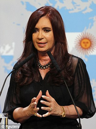 Keep the status quo: A group of seventh and eighth generation Falkland Islanders hope to tell Argentine president Cristina Fernandez de Kirchner (pictured) that they want to remain under British rule
