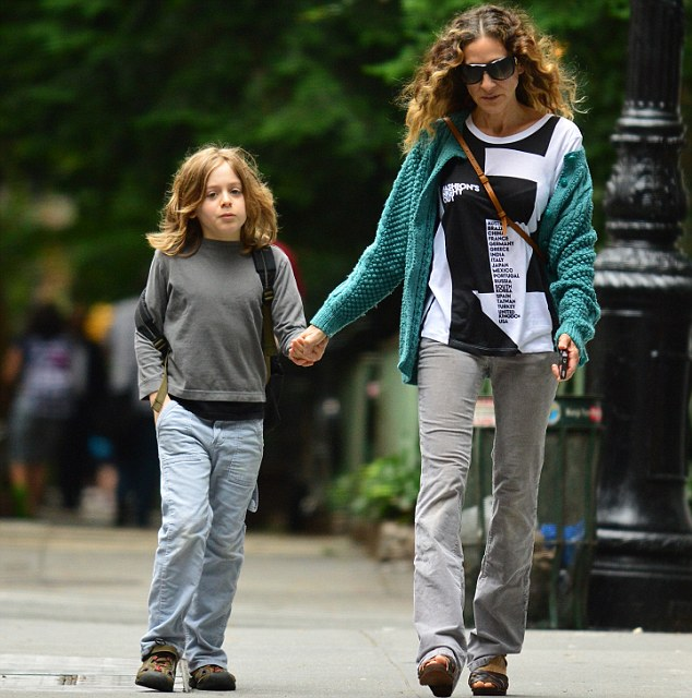 Bonding: Sarah Jessica and her nine-year-old walked hand in hand down the Big Apple street
