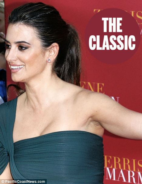 No escape: Slimmer women like Penelope Cruz have relatively small wings, but lack of muscle tone still leaves its mark