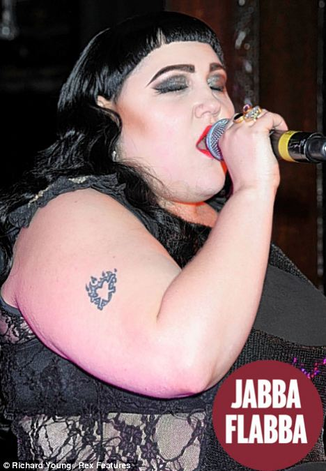 Star Flaws: Beth Ditto's arms seem to resemble Jabba The Hutt's body, with rolls of fat from her wrists upwards