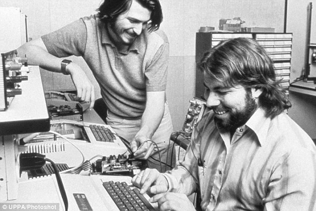 Apple Computer founders Steve Jobs (left) and Steve Wozniak (right) in 1976, as Apple went from start-up to computer giant