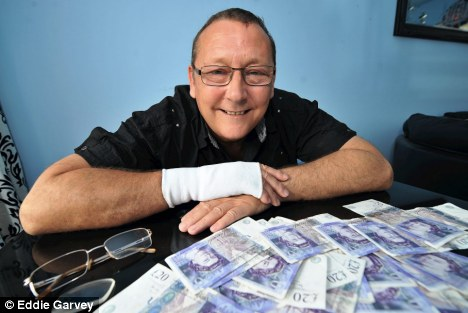 Shock: Barry Eastwood had just left the branch of Abbey Santander in Manchester when he tripped and his cash blew away