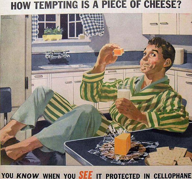 Appetising? Apparently Americans of the past actually preferred their food to be wrapped in plastic