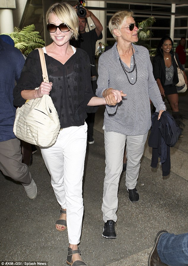 Follow me: Portia took charge as fans tried to keep Ellen back and get her to talk