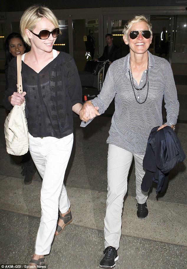 Arrivederci Roma: Couple Ellen DeGeneres and Portia Rossi arrived back in Los Angeles today after an Italian vacation