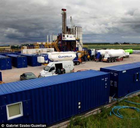 The demonstration was held at the Cuadrilla test fracking site where the company is drilling for shale gas