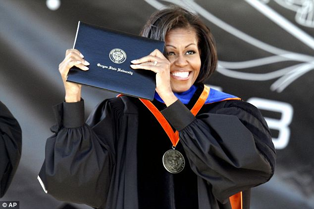 Michelle Obama was the commencement speaker at Oregon State University where her brother works as the basketball coach
