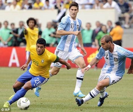 Target: Brazil's Hulk (left)